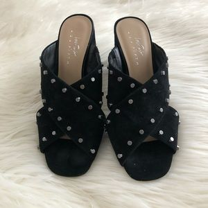 Lord & Taylor studded black suede mules